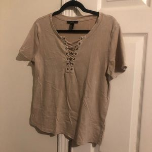 Lace up v neck t-shirt
